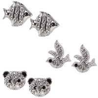Payless, Women's Panda/Fish/Bird Trio Earrings, Women's