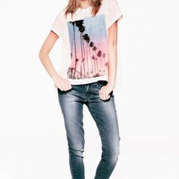 Wildfox Couture Canyon Palms Jagged Edge Tee in Peach Watercolor