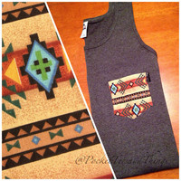 ALREADY MADE: Tribal Pocket Tank Tops. Size Large