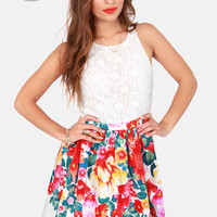 LULUS Exclusive Blooms Away! Ivory Floral Print Dress