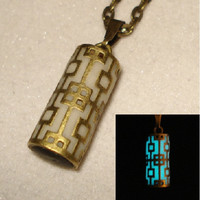 White And Antique Bronze Pillar Necklace Glow In The Dark Pendant (glows blue)