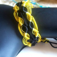 Woven Friendship Bracelet Peruvian Double Zigzag Yellow and Black | Wooleycreek - Jewelry on ArtFire