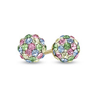 Child's Multi-Color Pastel Swarovski® Crystal Ball Earrings in 14K Gold - View All Earrings - Zales