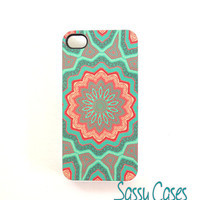 Floral iPhone 4 4S Mint Coral Case Quilted Flower by SassyCases