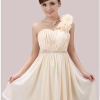 Floral One Shoulder Sweetheart Chiffon Cocktail Dress Beaded Ivory Prom Dress