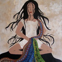 Tranquility Woman Meditation Contemporary Folk Art Painting