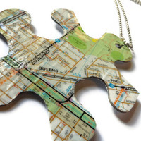 Melboure Map Puzzle Piece Necklace - Melways, Repurposed, Unusual Jewelry, Upcycled