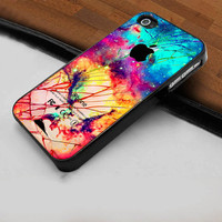 Wanted Galaxy Nebula Crackout New  - Hard Case Print for iPhone 4 / 4s case - iPhone 5 case - Black or White (Option Please)