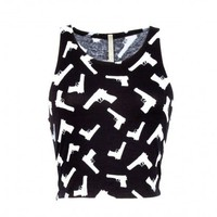 GUN PRINTED TEE CROP TOP BLACK AND WHITE - INSANE JUNGLE