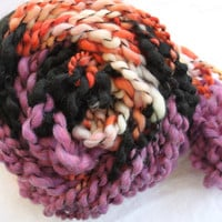 Hand Knit Bulky Shawl Scarf combo in Purple Orange by bpenatzer