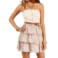 NaturalCoral Belted Floral Sundress