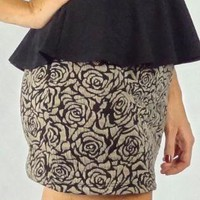 Black and Mocha Rose Print Skirt