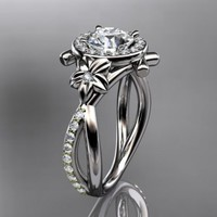 platinum diamond leaf and vine wedding ring,engagement ring ADLR89