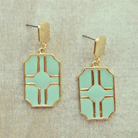 Pree Brulee - Blue Art Deco Earrings
