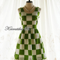 Jazzie lll - Spring Summer Sundress Checkered Print White And Green Party Tea Bridesmaid Dress