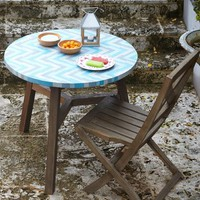 Mosaic Tiled Bistro Table - Aqua Glass