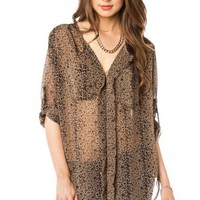 Chiffon Alfie Blouse in Cheetah - ShopSosie.com