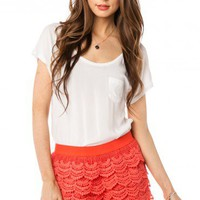 Scallop Crochet Shorts in Coral - ShopSosie.com