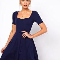 ASOS Skater Dress With Sweetheart Neck And Short Sleeves. at asos.com