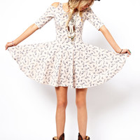 ASOS RECLAIMED VINTAGE Skater Dress in Floral Print with Cut Out Shoulders