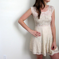 See Through Mini Dress White Lace Mini Floral Print Wedding Bridal Short Bohemian