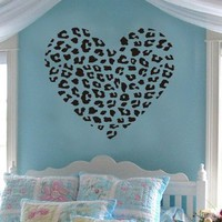 Cheetah Spot Print Heart Removable Wall Art Decal Sticker Decor Mural DIY Vinyl Décor Room Home