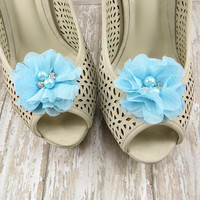 Something Blue Shoe Clips - Bridal Shoe Clips for Wedding Shoes - Shoe Accessories
