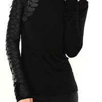 Dragon Scale Turtleneck Top In Black/Black Leatherette/Black Mesh | Thirteen Vintage