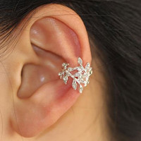BOGO-Glittering Leaves Rhinestone Single Ear Cuff | LilyFair Jewelry