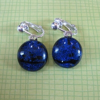 Dichroic Blue Clip On Earings, Dangle Clipon Earrings, Ear Clip Jewelry - Midnight - 1866 -1