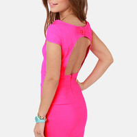 Fire with Fire Backless Neon Pink Dress