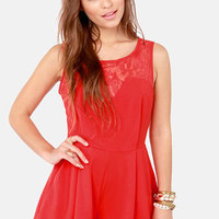 Day at the Laces Red Lace Romper