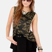 Gorgeous in General Camo Print Muscle Tee