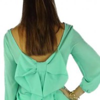 Mint Bow Back with Three Quarter Sleeves