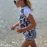GIRLS UV50 TOP & WATER SHORTS SWIM SET - NAVY BROCADE by SNAPPER ROCK