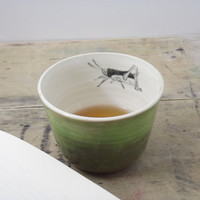One Porcelain Emerald Green Grasshopper Tea Cup