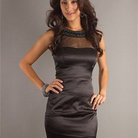 round neck Slim-line black Mini with Sequins and zipper Cocktail Dress Cocktail Dress CTD115