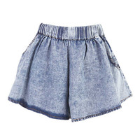 Denim Full Acid Wash Shorts at Fashion Union