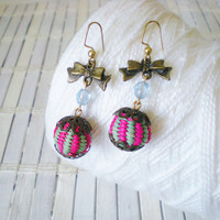 Pink & Green Stripes Dangle Earrings / Antiqued Bronze Bow Charms
