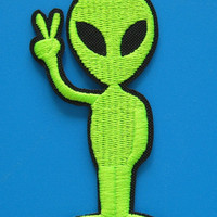 Iron-on Embroidered Patch Alien Victory 3.25 inch