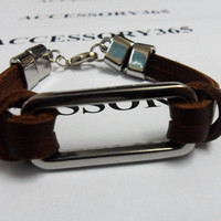 Brown Leather Metal Buckle Cuff Bracelet 227S by braceletcool