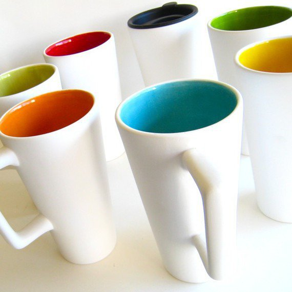 Ceramic Travel Mug Sylvie Collection Green by AedrielOriginals