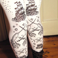 Pirate Printed Tights Extra Large Plus Size Black on White Womens Tattoo Sailor Octopus Narwhal