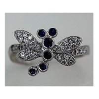 Estate 18 Kt White Gold Replica Dragon Fly Diamond And Sapphire Ring | artdecodiamonds - Jewelry on ArtFire