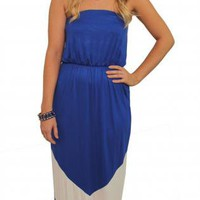 Royal Blue Chevron Strapless Maxi Dress