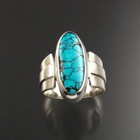 Large Natural Turquoise Ring, Sterling silver, size 10 | stonefever - Jewelry on ArtFire