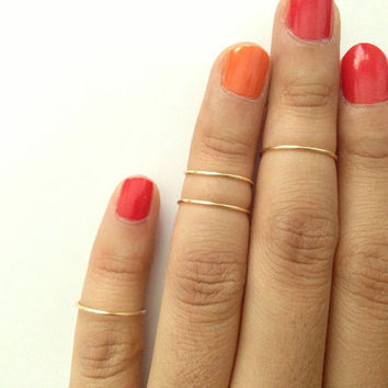set of 4: Gold Knuckle Ring, Silver Knuckle Ring, Mid Rings, stacking rings, dainty ring