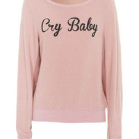 WILDFOX  Cry Baby Poodle Pink Sweater mit Slogan-Print - What's new