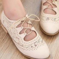 New Fashion  Leather Hollow Out With Lace Shoes