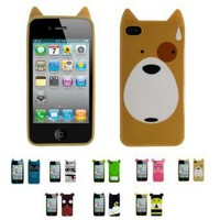 : Apple iPhone 4 (iPhone 4G, iPhone 4th Generation) 8GB 16GB 32GB CARTOON TPU Thermoplastic Case Silicone Skin Case Cover + Free Screen Protector (Many Colors Available)